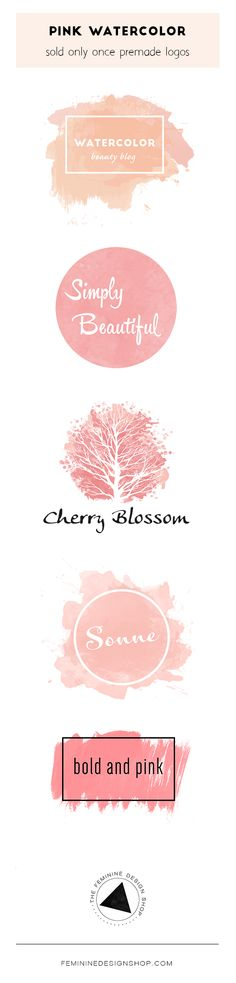 Beautiful pink watercolor premade logos (sold only once) | Logo + Brand Design by The Feminine Design Shop | www.femininedesignshop.com | logo design, brand design, branding, premade brand, premade logo