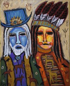 """""""Old West Story"""" by Santa fe Artist Kelly Moore who paints at the Tesuque Flea Market"""
