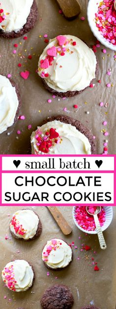 Small batch cookies: chocolate sugar cookies with frosting. Valentine's Day dessert for two.
