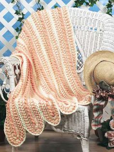 Crochet Afghans - Assorted Crochet Afghan Patterns - Peaches and Cream Throw