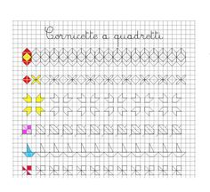 cornicette a quadretti Graph Paper Drawings, Graph Paper Art, Blackwork Patterns, Blackwork Embroidery, Drawing For Kids, Art For Kids, Pre Writing, Doodles Zentangles, Learning Colors