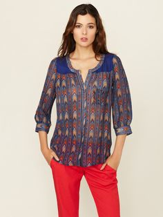 Chiffon 3/4 Sleeve Pocket Blouse by The Letter on Gilt.com