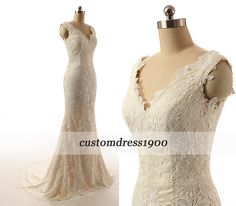Champagne Cap Sleeve Handmade Mermaid Bridal Gowns Sweep Train White/Ivory Elegant Lace Wedding Dress by customdress1900 on Etsy https://www.etsy.com/listing/221455807/champagne-cap-sleeve-handmade-mermaid