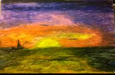 Sail by Darla Vaughan Original Oil Pastel Fine Art Painting Sunset Drawing Sailboat Sailing Seascape Ocean Sunsets Ocean Inspirations Beachy by LoveStreetUSA on Etsy