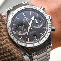 """Omega Speedmaster '57 'Vintage' Watch Hands-On, 'George Clooney's Choice' - by Ariel Adams - see the pictures & read why we like it too - on aBlogtoWatch.com """"The Omega Speedmaster '57 collection has become a rather hot subset of the popular Speedmaster timepiece family since it was originally introduced in 2013. Sporting Omega's modern in-house made caliber 9300 Co-Axial Chronograph movement in a 41.5mm wide case that is slightly smaller than the largest available Speedmaster..."""""""