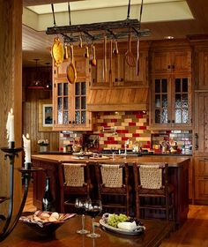 Big beautiful kitchen at the cabin. Love the rustic decor.