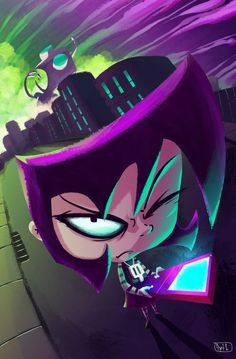 Gaz from invader zim by Sythelum on DeviantArt (Are we not gonna acknowledge a giant Gir in the background destroying the town)