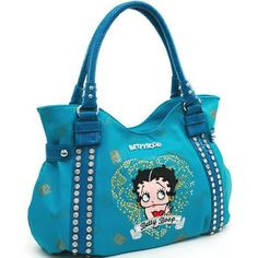 Studded Betty Boop Shoulder Bag w/ Heart And Rhinestone Embroidery Turquoise - love this!