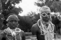 Teenage festive attire of the Thembu Qwathi clan. Transkei, South Africa 1960s
