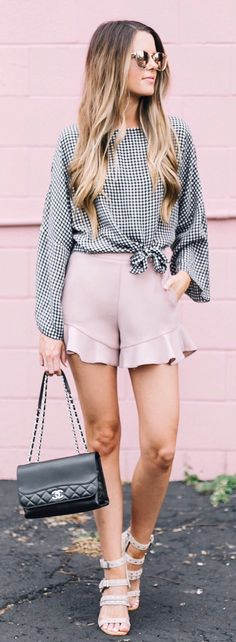 #summer #outfits  Still Crushing On This Gingham And Ruffle Look  + All The Pinkness Is Really Brightening Up My Rainy Sunday Night  I Hope You Guys Had A Fab Weekend! Is Anyone Else Looking Forward To Bachelorette Monday Starting Tomorrow?