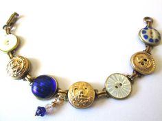 USNA mom, USNA wife, USNA girlfriend, USNA midshipman! Show your support. Antique Navy button bracelet. Blue & Gold!
