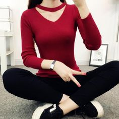 2017 New Fashion Women Spring Autumn Winter Basic Knitted Shirt Female Long-Sleeve V Neck Sweater And Pullover Tops Pull Femme