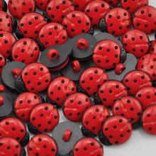 20Pcs Red ladybug DIY Kid's appliques/craft/sewing buttons(China (Mainland))