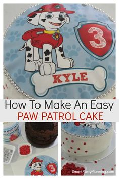 Learn how to make an easy Marshall Paw Patrol Cake with a free cake topper image. Using buttercream and an edible image, this simple but cute homemade cake will be a delight for all Paw Patrol fans. Types Of Birthday Cakes, Paw Patrol Cake Toppers, Paw Patrol Birthday Cake, Chocolate Mud Cake, Diy Cake Topper, Party Themes For Boys, Rose Cake, Cakes For Boys, Homemade Cakes