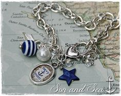 US Navy Mom charm bracelet by Son and Sea - free US shipping