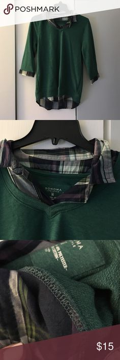Sonoma top Great top knit sweater shirt with button down look.  The collar and bottom are attached but it is not a full button down Sonoma Tops