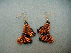 beaded monarch butterfly earrings by shorty1272001 on Etsy, $8.00