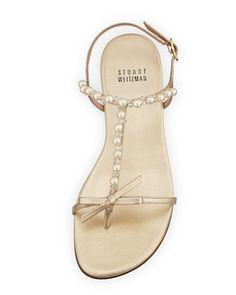 Stuart Weitzman Pearlize Metallic Thong Sandal, Cava - Bergdorf Goodman