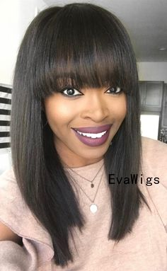 Look at this amazing hair on this cute girls.Beautiful natural straight hairstyle with perfect bang cut.Anyways,just tap the pic to see more pieces at EvaWigs.com #wigs#humanhairwigs#naturalblackhair