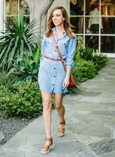 Sydne Style - Los Angeles fashion blogger and People StyleWatch contributor Sydne Summer takes a Denim Dress & Flatforms to the Streets. Shop online! waysify