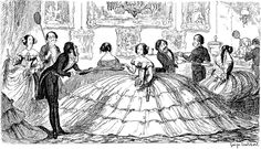 """Satirical cartoonist George Cruikshank mocked the crinoline with this illustration in right at the beginning of its popularity. The gentlemen had to use long-handled trays, AKA """"Baker's Peels"""" to hand the ladies food and drink. Hoop Skirt, Second Empire, Quites, The Great Gatsby, Wedding Dress Styles, Caricatures, Victorian Era, Victorian History, Victorian Dresses"""