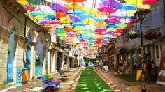 CNN Most colorful places world umbrella sky  Águeda - PORTUGAL