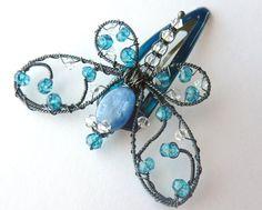 Decoración Londres azul topacio recargado pequeña Dragonfly horquilla o ramo