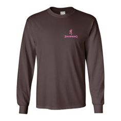 Southern Sisters Designs - Long Sleeve Browning Shirt - Chocolate With Pink Buckmark, $20.95 (http://www.southernsistersdesigns.com/long-sleeve-browning-shirt-chocolate-with-pink-buckmark/)