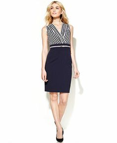 Calvin Klein Sleeveless Stripe-Top Belted Dress - =cute to wear on a cruise