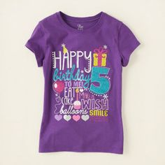 girl - graphic tees - fifth birthday graphic tee | Children's Clothing | Kids Clothes | The Children's Place