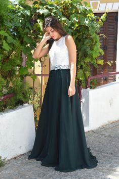 Green Skirt, Chiffon Skirt, Long Skirt, Women Skirt, Fashion Skirt, Circle skirt, Loose skirt, Prom Skirt, Engagment Skirt, Party Skirt Ivory Lace Top, Long Chiffon Skirt, Maxi Skirt Outfits, Party Skirt, Skirt Fashion, Prom, Green, Skirts, Senior Prom
