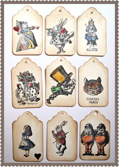 set of 9 Alice tags for bunting