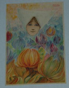 Early Raphael kirchner Postcard Erika Series No 1119 Dutch Girl in Tulips Unused   US $49.99