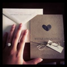 love it + make it = diy thumb print engagement invites; could also use children's thumb print for valentines card sent to child's school