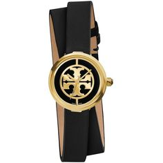 Tory Burch Reva Goldtone Stainless Steel & Leather Double-Wrap Strap... (2,405 HKD) ❤ liked on Polyvore featuring jewelry, watches, accessories, apparel & accessories, tory burch watches, dial watches, leather jewelry, bezel watches and quartz movement watches