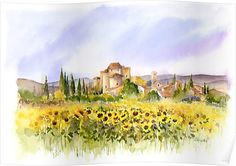 Sunflowers in Tuscany, Rachel McNaughton. Watercolor Sunflower, Pen And Watercolor, Watercolor Landscape, Landscape Paintings, Landscapes, Sunflower Cards, Sunflower Fields, Watercolor Painting Techniques, Watercolour Paintings