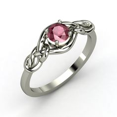 Round Rhodolite Garnet, Solitaire, Prong Set Ring