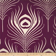 Love this for quilt, headboard or drapes. Or accent pillows Pillow Cover Design, Decorative Pillow Covers, Diy Cushion, Purple Fabric, Feather Design, Peacock Feathers, Stencil Designs, Fabulous Fabrics, Home Decor Fabric