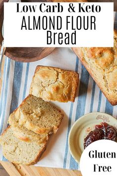 Buttery and rich almond flour bread is easy to make and low in carbs! Clean Eating Breakfast, Breakfast Snacks, Breakfast Recipes, Snack Recipes, Healthy Recipes, Almond Flour Bread, Gluten Free Living, Keto Bread, Keto Snacks