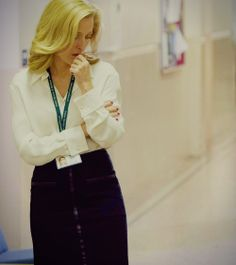 GA as Stella Gibson in The Fall - silk blouse, pencil skirt, green lanyard