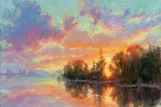 Sunset Painting - Sunset Reflections by Becky Joy