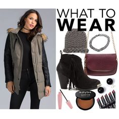 A fashion look from November 2015 by gojane featuring a burgundy purse, NYX makeup, a puffer jacket, and black booties.