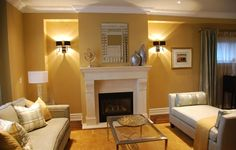 warm tan living room with white accents (Sherwin Williams, Lanyard)
