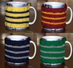 Harry Potter Hogwarts House Knitted Mug Cozy by CinnabarPixie on Etsy for $9.67 USD. Show your house pride with this hand knitted mug cozy available in all the Hogwarts house colours (including both the movie and book colour scheme for Ravenclaw). This cozy measures approximately 24cm x 7.5 cm and is stretchy to fit most mugs. It is secured in place with two buttons. | timeturnershoppe.tumblr.com