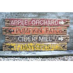 Autumn Fall Apple Orchard Hayride Cider Mill Pumpkin Patch Rustic... ($340) ❤ liked on Polyvore featuring home, home decor, distressed wood home decor, rustic signs, pumpkin home decor, rustic home decor and distressed wood signs