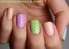 cute nail designs for kids with short nails | Dressed Up Nails - pastel skittle nail art with Lime Crime polishes