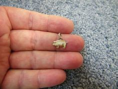 Vintage German enamel Sterling Silver Lucky Pink Pig or Piggy Charm - real cute  - and real TINY, as all GERMAN charms ! a cutie !