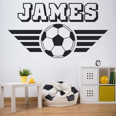 Transform a kids bedroom into a football themed room with this personalised football wall decal sticker from Icon Wall Stickers! This wall sticker is available in 8 sizes & 36 colours. #footballwallsticker #personalisedfootballwallsticker #footballwalldecal #footballthemedbedroom #footballbedroomideas #Iconwallstickers Football Theme Bedroom, Football Rooms, Football Wall, Bedroom Themes, Kids Bedroom, Bedroom Ideas, Personalised Wall Stickers, Personalised Football, Awesome Bedrooms