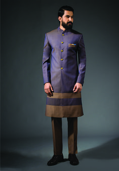 Purple Long Bandhgala #earthy #purple #sherwani #panel #longbandhgala