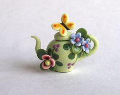 Miniatura hecho a mano fantasía hadas casa tetera de abeja por